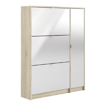 Shoes Shoe cabinet w. 3 tilting doors and 2 layers + 1 door in Oak structure White high gloss